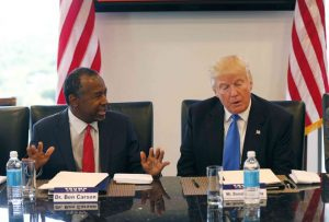 President-elect Donald Trump and Dr. Ben Carson, HUD Secy nominee